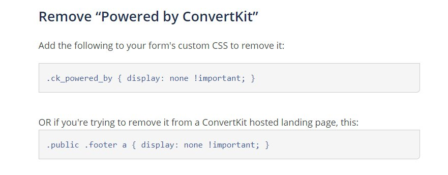 How to remove powered by convertkit