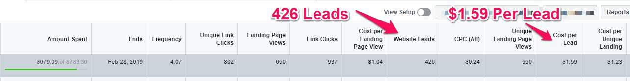 Facebook Leads Results